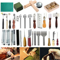Various Style DIY Leather Craft Tools Sewing Punch Groover Awl Skiving Knife Kit