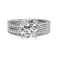 0.80 Ct Real Genuine Diamond Wedding Rings Set 14K White Gold Ring Size O P J