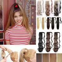Real Long as Human Hair Wrap Around Ponytail Pony Tail Clip in Hair Extension J