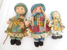 "Vintage 1970's Lot of 3 Knickerbocker Holly Hobbie Cloth Dolls 9"" & 6"" Tags"