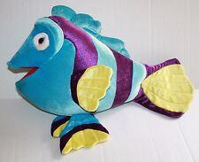 "Blue Purple Plush Striped TROPICAL FISH Big 19"" Stuffed Animal Pink Eye Soft Toy"