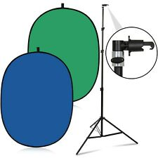 RemoteOffice 5' x 7' Collapsible Backdrop Green + Blue Screen Kit with Stand