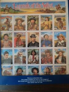 1994 USA STAMP ERROR SHEET LEGENDS OF THE WEST BILL PICKETT