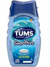 2 Pack Tums Antacid Smoothies Peppermint Extra Strength 750mg Chewable 140 Each