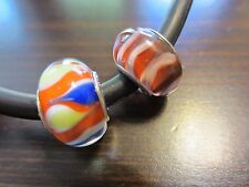 Lot of 2 Stunning Sterling Silver Signed Barrel Persona Multi Glass Beads 5 Gr