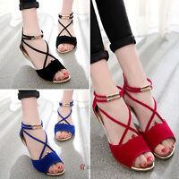 Ladies Beach Summer Flat Heel Wedge Peeptoe Sandals Ankle Straps Womens Shoes