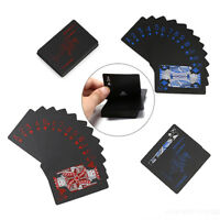 2 Sets Waterproof Plastic Pvc Black Playing Cards Poker Card Board Game  J,a