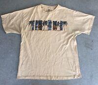 VTG-Mens Newport Blue Palm Tree Surf Beach Ocean Sunset Sand Color T Shirt-XL