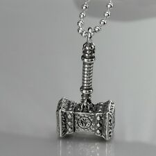 """Silver SOLID Stainless Steel Thor's Hammer Pendant ball Chain Necklace 24"""" 60cm"""