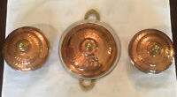 SET OF THREE VINTAGE COPPER SERVING BOWLS / PLATE WITH LIDS WITH BRASS  HANDLES