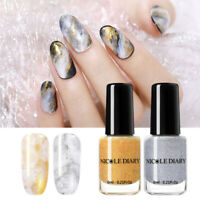 2 Bottles/Set NICOLE DIARY 6ml Watercolor Marble Ink Nail Polish Gold Silver DIY