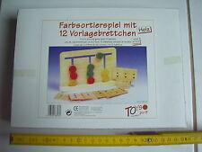 Farbsortierspiel Holz mit 12 Vorlagebrettchen, Toys pure NEU in OVP, Geschenk