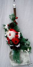 "NEW/STUDIO 33/HANGING CHRISTMAS DECORATION/SANTA w/WOODEN HANDLED SHOVEL/23"" x 9"