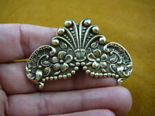 CB-FLO-1 FLOWER butterfly wings gold brass Barrettes French barrette hair floral