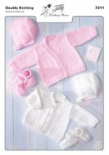 7211 Double Knitting Pattern for Baby Cardigans, Bonnet & Bootees