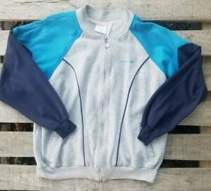 Vintage 80's Adidas Silver Tag Men's Blue Gray Full Zip M/L Sweater