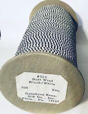 """500 Yd Spool GUDEBROD Butt Wind Flat Braid Black/White 001/002 1/8"""" Tiger Ghost"""