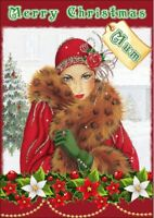 personalised Christmas card Art Deco Any name/relation