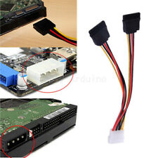Power Adapter Cable 15 Pin SATA Male to Dual Molex 4 Pin IDE HDD Female