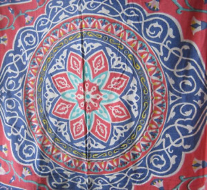Red/Blue Mandala Print Cotton Full Bed Cover/Wall Decor; Mikel Tex/Egypt; Rare