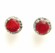 Natural Round Ruby Sterling Silver Fine Earrings
