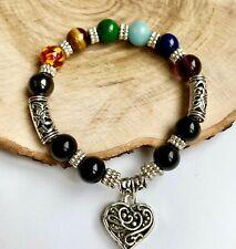 UK Ladies 7 Chakra Charm Power Bead Energy Stone Bracelet Wrap Bangle for Women