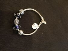 Pandora Bracelet with Blue Glass Beads, Butterfly Bead and 2 Heart Clips NEW