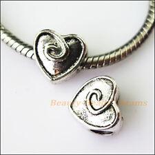 4Pcs Antiqued Silver Heart Spacer Beads fit European Charm Bracelets 10mm