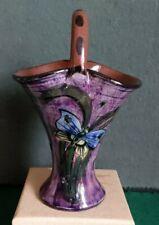 More details for longpark pottery basket vase - butterfly pattern
