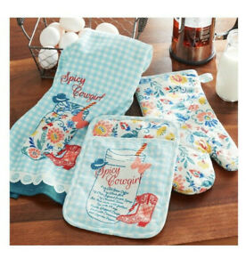 The Pioneer Woman Spicy Cowgirl Kitchen Set 3Pc Towel Pot Holder Oven Mitt Red