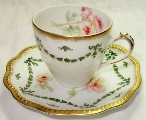 A.I. LANTERNIER  LIMOGES DEMITASSE CUP & SAUCER 2 1/2 X 5 Inch  Fast US Shipping