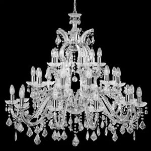 Searchlight Maria Therese Italian Chrome Crystal Glass Ceiling Chandelier Light