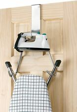 Ironing Board Storage Over The Door Hook Chrome Iron Holder Hanger Organiser New
