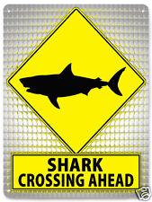 Shark tank jaws Metal street Sign funny fishing gag Plaque bait shop decor 250
