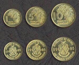GUINEA COIN SET 1 + 5 + 10 Francs 1985 UNC UNCIRCULATED LOT of 3