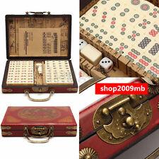 Modern Portable Retro High-End Chinese Mahjong 144 Bamboo Mah-Jong Set W/Box