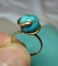 Snake Persian Turquoise Ring 14K Gold Victorian Belle Epoque c1860 Antique Rare