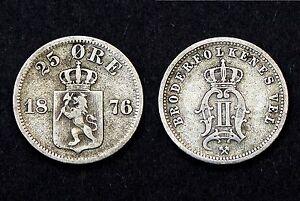 25 Ore 1876 Norvège. Argent. KM#354
