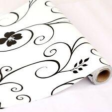 Black Floral Contact Paper Self Adhesive Wallpaper Shelf Drawer Liner