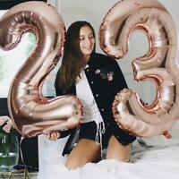 """Rose Gold 40"""" Giant Foil Number Helium Large Baloon Birthday Party Wedding Decor"""