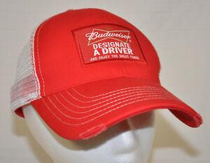 BUDWEISER Designate A Driver TRUCKER Red/White MESH BASEBALL Cap HAT SnapBack