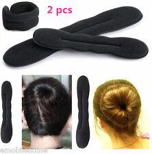 2pcs Hair Twister Styling Bun Making Tool Black Sponge Roller Hairdisk Size S
