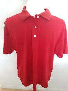 Footjoy Golf Shirt Polo Solid Red Size XL Short Sleeves 1/4 Button