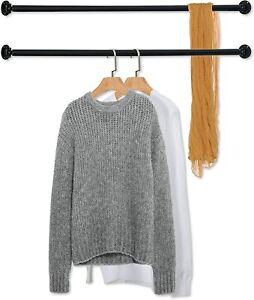 Set of 2 Matte Black Wall Mounted Metal Corner Clothing Hanging Bar,Garment Rack