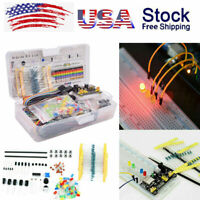 Electronics Component Starter Kit W/ 830 tie-points Breadboard Cable Resistor US