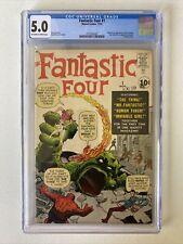 Fantastic Four #1 CGC 5.0 OW/W Pages Marvel 1961 1st App MCU