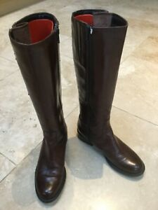 Van Dal Chestnut Brown Leather Boots. Adjustable calf. Size U.K. 3. EU 36. NEW