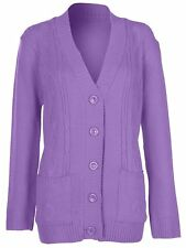 Womens 5 Button Cable Knit Winter Ladies Cardigan Knitted Jumper Size 8 10 12 14 Medium / Large Purple