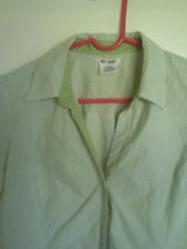 AT*LAST Stretch Green White Striped COLLAR SHIRT  Blouse Top Women L