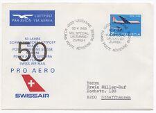 1969 SWITZERLAND Flight Cover 50 YEARS SWISSAIR AIRMAIL Lausanne to Schaffhausen